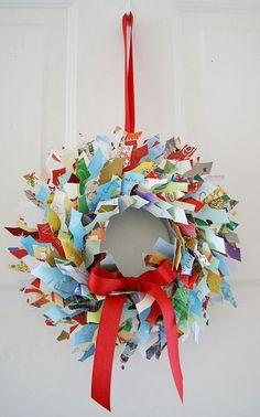upcycled Christmas card wreath