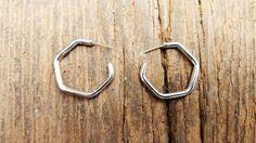 80's Vintage Hexagon Hoop Earrings by ShareableSecrets on Etsy