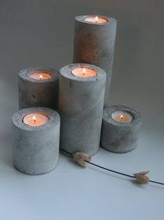 Items similar to Set of 5 Concrete Pillar Tea Light Candle Holders wedding candle holders votive outdoor wedding cylindrical candle holder home d cor on Etsy Candle Holders Wedding, Tealight Candle Holders, Outdoor Candle Holders, Outdoor Candles, Chandeliers, Concrete Candle Holders, Concrete Crafts, Diy Candles, Beeswax Candles