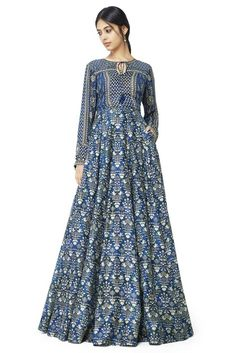 Buy Blue printed skirt by Anita Dongre at Aza Fashions Indian Wedding Outfits, Wedding Attire, A Line Kurti, Pakistani Dresses Casual, Luxury Wedding Dress, Fashion Dresses, Women's Fashion, Bridal Dresses, Dress Skirt