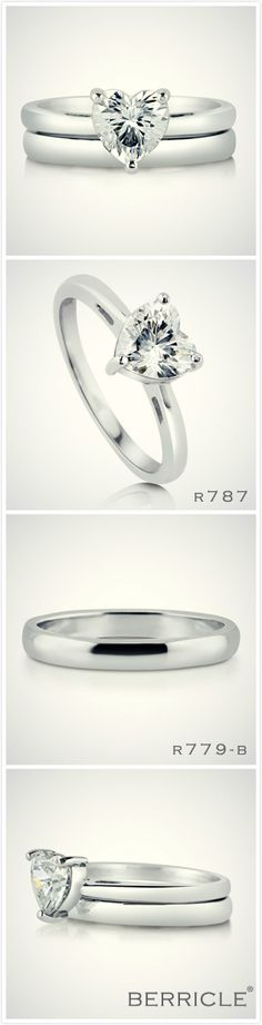 Berricle's Pick for Today!!  Simple heart solitaire ring pairs with plain wedding band. Do you love the set?