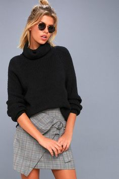 Slip into the Park City Black Cowl Neck Knit Sweater and look chic and cozy! A draping cowl neckline tops this soft, medium-weight knit sweater with roomy sleeves, and a wide-cut bodice. Pierced accents and ribbed detailing along the cuffs and hem add a cute and trendy touch!
