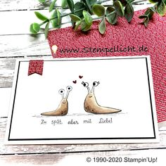 Stempellicht: Schneckenpost von Stampin´Up! Snail Cards, Holiday Greeting Cards, Stamping Up Cards, Animal Cards, Love Valentines, Sympathy Cards, Cool Cards, Creative Cards, Card Making
