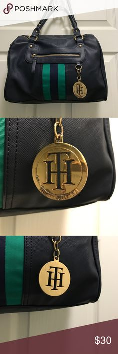 Tommy Hilfiger Purse Navy blue and green Tommy Hilfiger purse with gold colored hardware, some wear on the keychain as pictured Tommy Hilfiger Bags Satchels