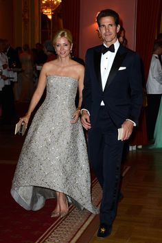 Her Royal Highness The Crown Princess Pavlos of Greece, Princess of Denmark, Princess Marie-Chantel in Valentino with her husband.