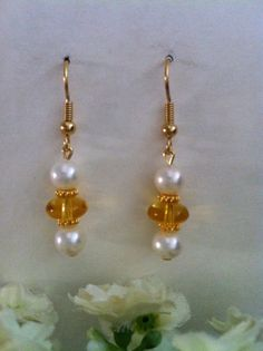 White Round Natural Freshwater Pearls and Citrine Dangle Earrings, Bridal Earrings, Gift, Valentine Gift