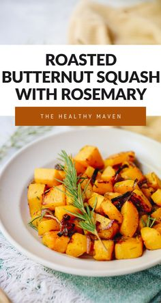 A simple fall side dish for roasted butternut squash with rosemary. Just toss with onion and olive oil and roast to perfection with a subtle hint of rosemary for flavor.