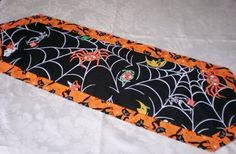"""Trick Or Treat Halloween Runner Handcrafted Reversible  10.5"""" X 36"""" - sold out"""