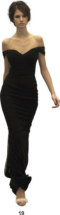 off the shoulder curve hugging black dress