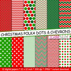 Christmas digital paper CHRISTMAS polka dots and by ClaireTALE, $4.80
