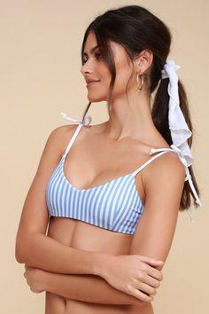 4d2e7695bbd7c6 Make a splash in the Ete Swimwear Mia Blue and White Striped Bikini Top!  This