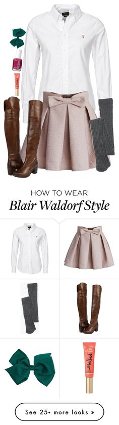 """Blair Waldorf fall style"" by blonde-prepster on Polyvore featuring Polo Ralph Lauren, Chicwish, Madewell, Frye and Essie"