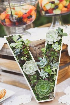 Succulent monogram wedding decor. Captured By: Sarah Murray Photography ---> http://www.weddingchicks.com/2014/05/13/quirky-budget-friendly-wedding/