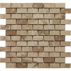 Crème Brulee Brick Pattern Honed Mosaic Tile by Soci