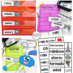 Cloud and Weather Activities Vocabulary Cards for Kindergarten First Grade Second Grade
