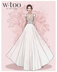 Talk about a statement-maker. This Venna lace and tulle wedding dress has just the subtlest hint of blush hidden throughout. Dress Design Drawing, Dress Design Sketches, Fashion Design Sketchbook, Dress Drawing, Fashion Design Drawings, Fashion Sketches, Wedding Dress Illustrations, Wedding Dress Sketches, Fashion Drawing Dresses