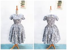 "Dorothy Dress ""Enchanted Roses"" in Grey Floral Rose Print"