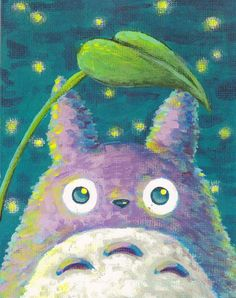 Purchased - Chu Totoro at Night Painting - Acrylic - Print - 8x10