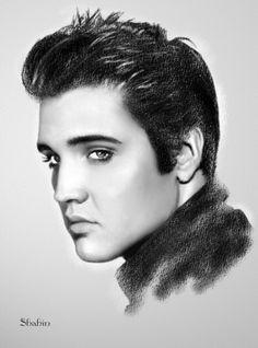 Portrait of Elvis Presley by shahin on Stars Portraits - 1 Elvis Tattoo, Celebrity Drawings, Celebrity Portraits, Young Elvis, Elvis Presley Young, Elvis Presley Family, American Flag Photos, Elvis Presley Pictures, Arte Black