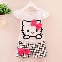 Summer Children costume Girls Hello Kitty Clothing Sets T Shirt Shorts kigurumi Pants Baby Kids Cute Cartoon baby Clothes Set //Price: $19.41 & FREE Shipping //     #hashtag1
