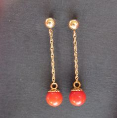 14 kt Gold Coral Vintage náušnice Pierced