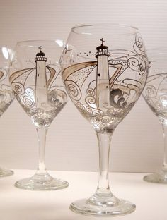 Lighthouse Wine Glasses Hand Painted Glassware by SkySpiritStudios