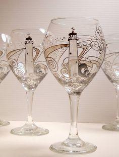 Lighthouse Wine Glasses Hand Painted Glassware por SkySpiritStudios, $55.00