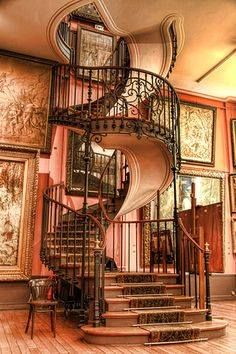 Spiral Staircase At the Musée national Gustave Moreau in Paris, France - 1896 - Seen on Steampunk Tendencies