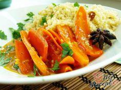 Medová karotka s kuskusem | NejRecept.cz Tofu, Thai Red Curry, Carrots, Food And Drink, Lime, Vegetarian, Lunch, Vegan, Vegetables
