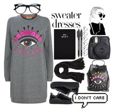 """""""Sweater Dresses"""" by janysha2369 ❤ liked on Polyvore featuring Kenzo, Fuji, Steve Madden, EyeBuyDirect.com and Paper Mate"""