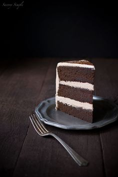 This Chocolate Espresso Layer Cake is delicate, moist and incredibly rich with dark chocolate flavor.
