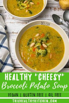 If you're looking for the BEST, actually healthy broccoli potato soup, look no further than this! This vegan and dairy free soup recipe is not only easy to make, but it's creamy without cream, and cheesy with no cheese! Using coconut milk for added creaminess, in a nutritious vegetarian bowl of goodness. Easily adaptable to your crockpot or instant pot. Healthy Soup Recipes, Whole Food Recipes, Vegetarian Recipes, Cooking Recipes, Vegetarian Barbecue, Barbecue Recipes, Vegetarian Cooking, Low Calorie Recipes, Free Recipes