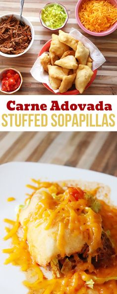 Pinterst image for carne adovada stuffed sopapillas