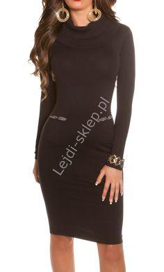 Dzianinowa czarna sukienka z golfem w stylu Kate Middleton