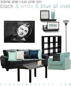 how to decorate around the black leather couch | for the home