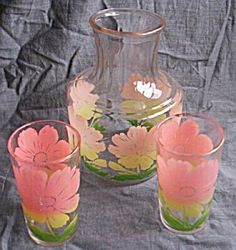 2 Federal Glass Swanky Swig w/ Juice Pitcher. Click on the image for more information.