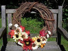 Grapevine Wreath, Fall Wreath, 18 inch.  Sunflowers, pretty fall colors.   www.etsy.com/shop/NaturesCraftSupply