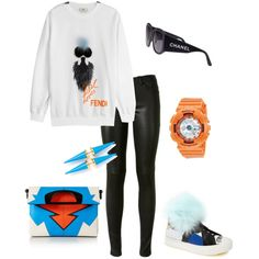 Untitled #117 by raphaelaelena on Polyvore featuring Fendi, Yves Saint Laurent, Christian Louboutin, G-Shock and Chanel