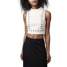 Topshop Embellished High Neck Crop Top ($80) ❤ liked on Polyvore featuring tops, nude, turtleneck crop top, mock turtleneck, sleeveless turtleneck, sleeveless mock turtleneck and embellished tops