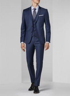 Costume bleu minéral - Fil-à-fil 16EC3DIGG-F567/32 - Costume slim homme