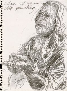 Untitled or Study for 'Emily Kame Kngwarreye with Lily' by Jenny Sages (b. via National Portrait Gallery Aboriginal Artists, National Portrait Gallery, Indigenous Art, Australian Artists, Woman Face, Art Projects, Lily, Study, Drawings