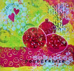 "Mixed media collage ""Pomegranate"" 