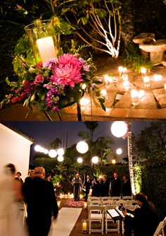 Night Garden Wedding- i love how cute this is and wicked pretty flower/candle arrangement !