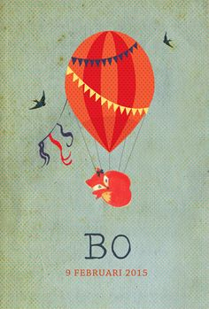 Geboortekaartje Bo - voorkant - Pimpelpluis - https://www.facebook.com/pages/Pimpelpluis/188675421305550?ref=hl (# lief - schattig - simpel - eenvoudig - retro - dieren - vintage - ballon - vosje - vos - origineel)