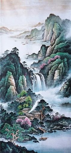 Chinese Painting Mountains,Lofty Mountains And Flowing Water,Chinese Artwork