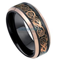Black & Rose Gold IP Tungsten Ring with Laser Engraved Celtic Pattern