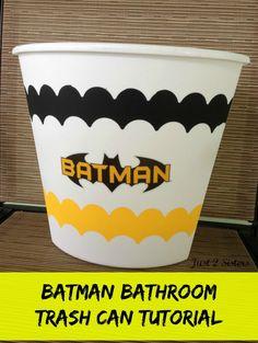 Batman Bathroom Trash Can Tutorial - Just 2 Sisters DIY Crafts sponsored