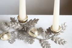Thanksgiving Centerpiece, Fall Candelabra  A vintage mixed metals piece featuring acorns and oak leaves.