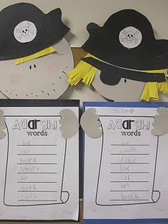 """Pirates with a list of """"ar"""" words. Great way to learn about r-controlled words!"""