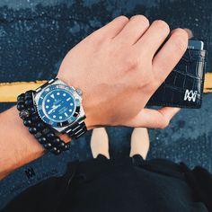 #mensessentials | #RolexSubmariner #MarcosdeAndrade Black Titanium Bracelets and the MDA Croc Card Holder [ Exclusive at http://ift.tt/1V3EwjM ]